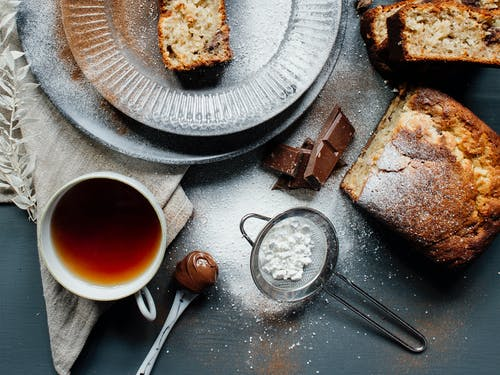Yummy banana bread served with aromatic black tea