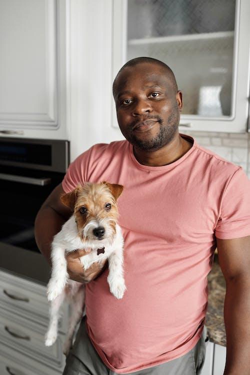 アフリカ系アメリカ人, おとこ, カメラ目線, かわいい犬の無料の写真素材