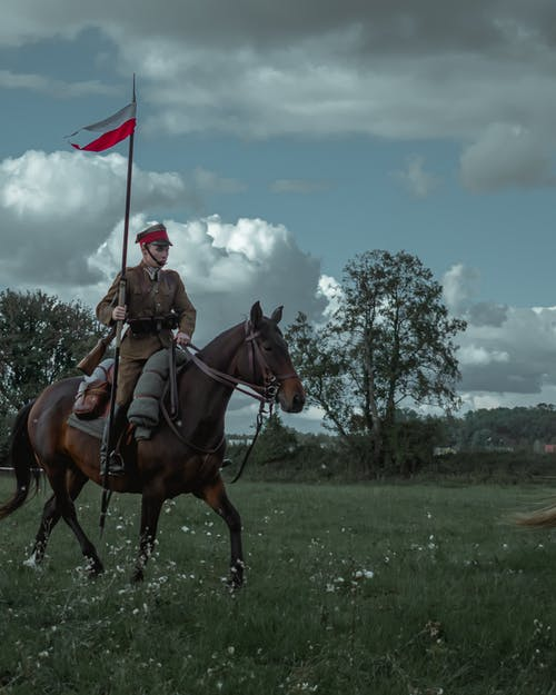 Man Riding Brown Horse Holding Red White and Blue Flag