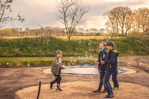 泡ともの暖かい自然太陽を遊んでいる子供たちの無料の写真素材