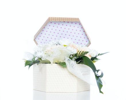 White Flowers Inside Gift Box