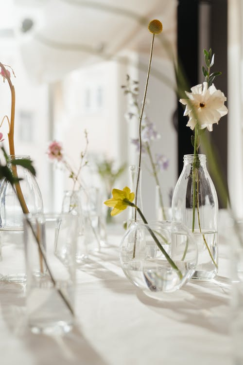 Flowers in Clear Glass Vase With Water