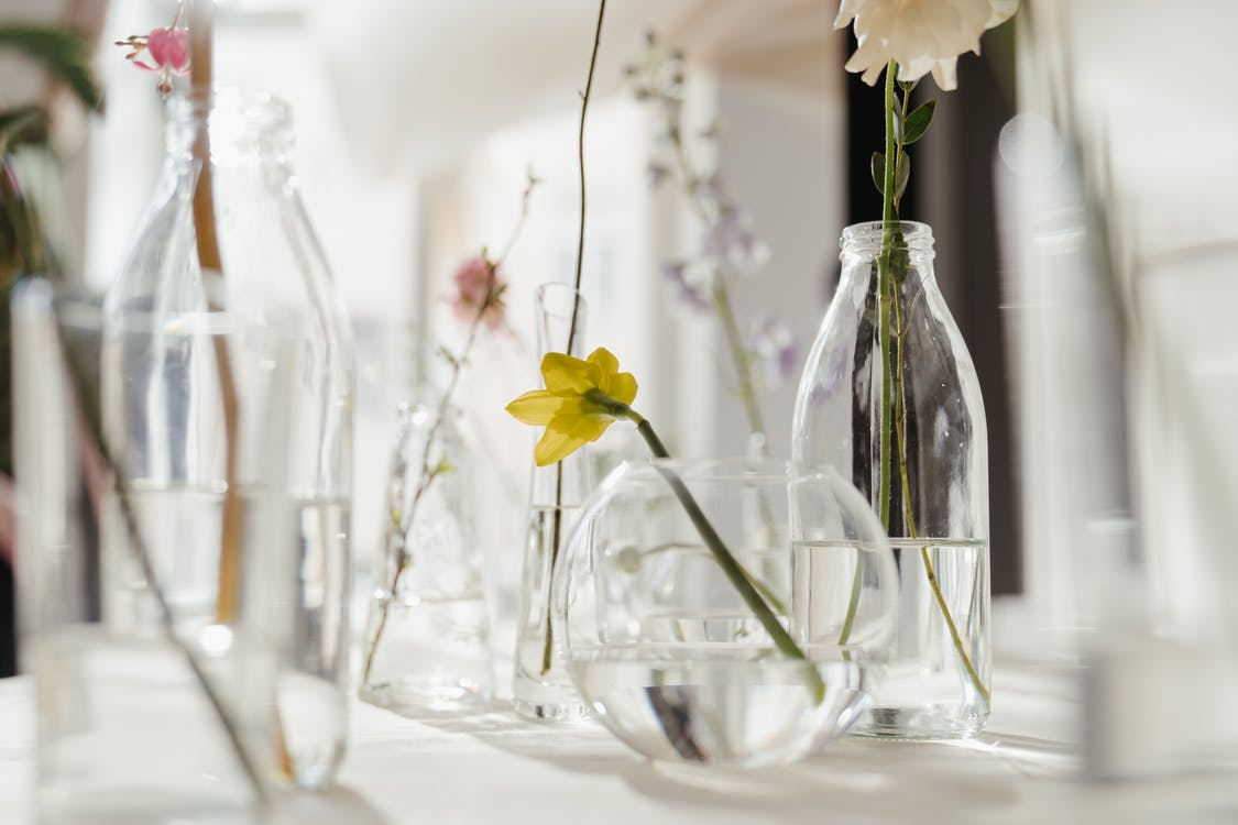 Flowers in Clear Glass Vase