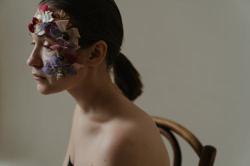 Woman With Floral Hair Pin
