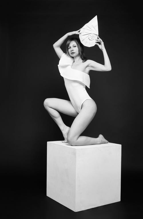 Slim model with shell in studio