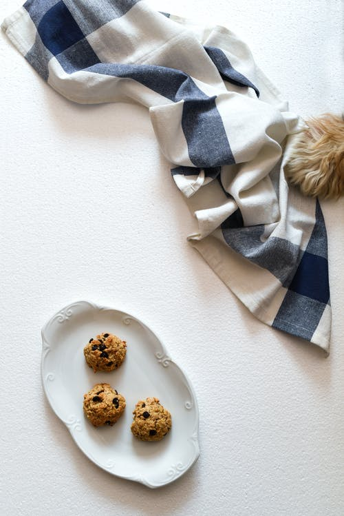 Photo of Chocolate Chip Cookies on White Ceramic Plate