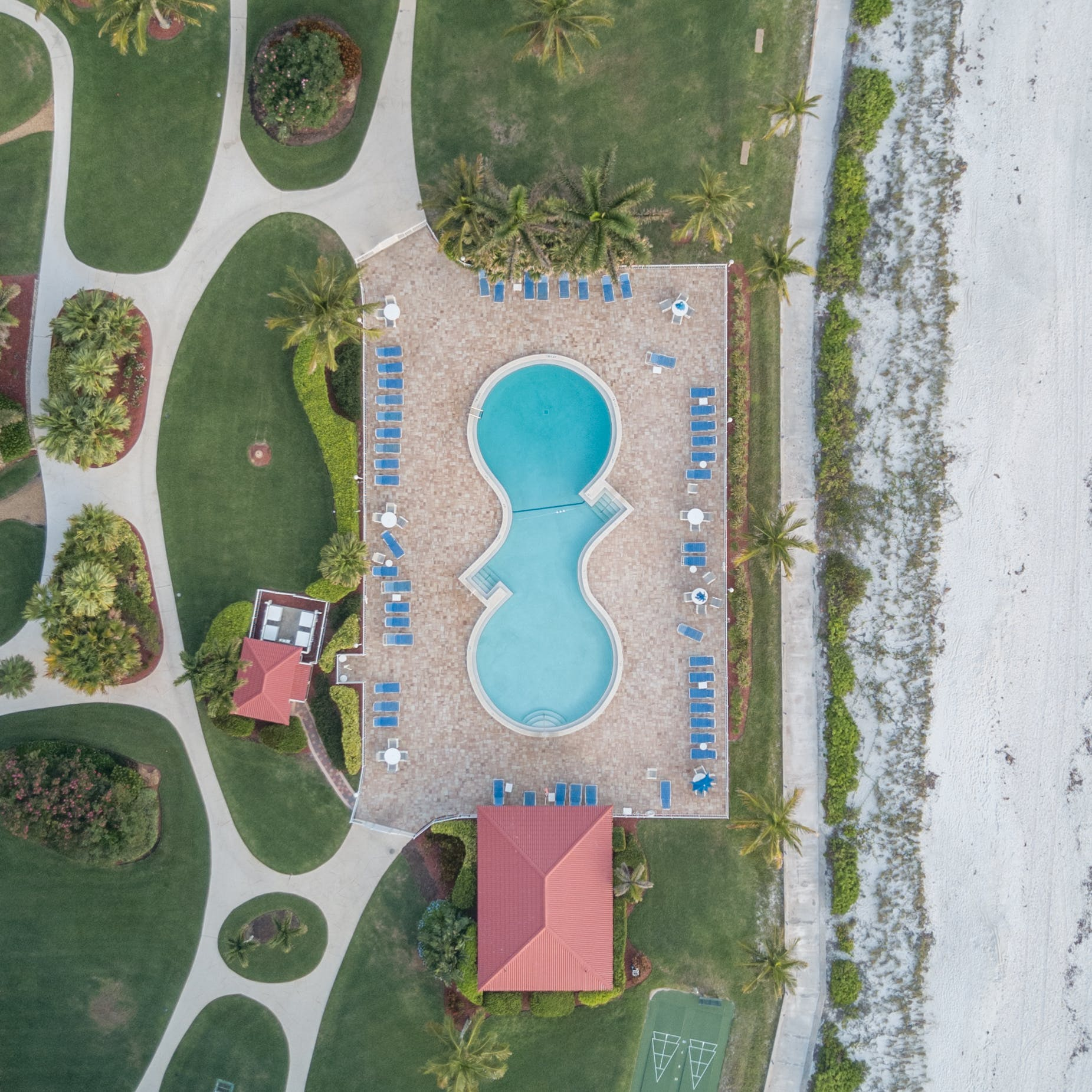 High Angle Photo of Outdoor Swimming Pool