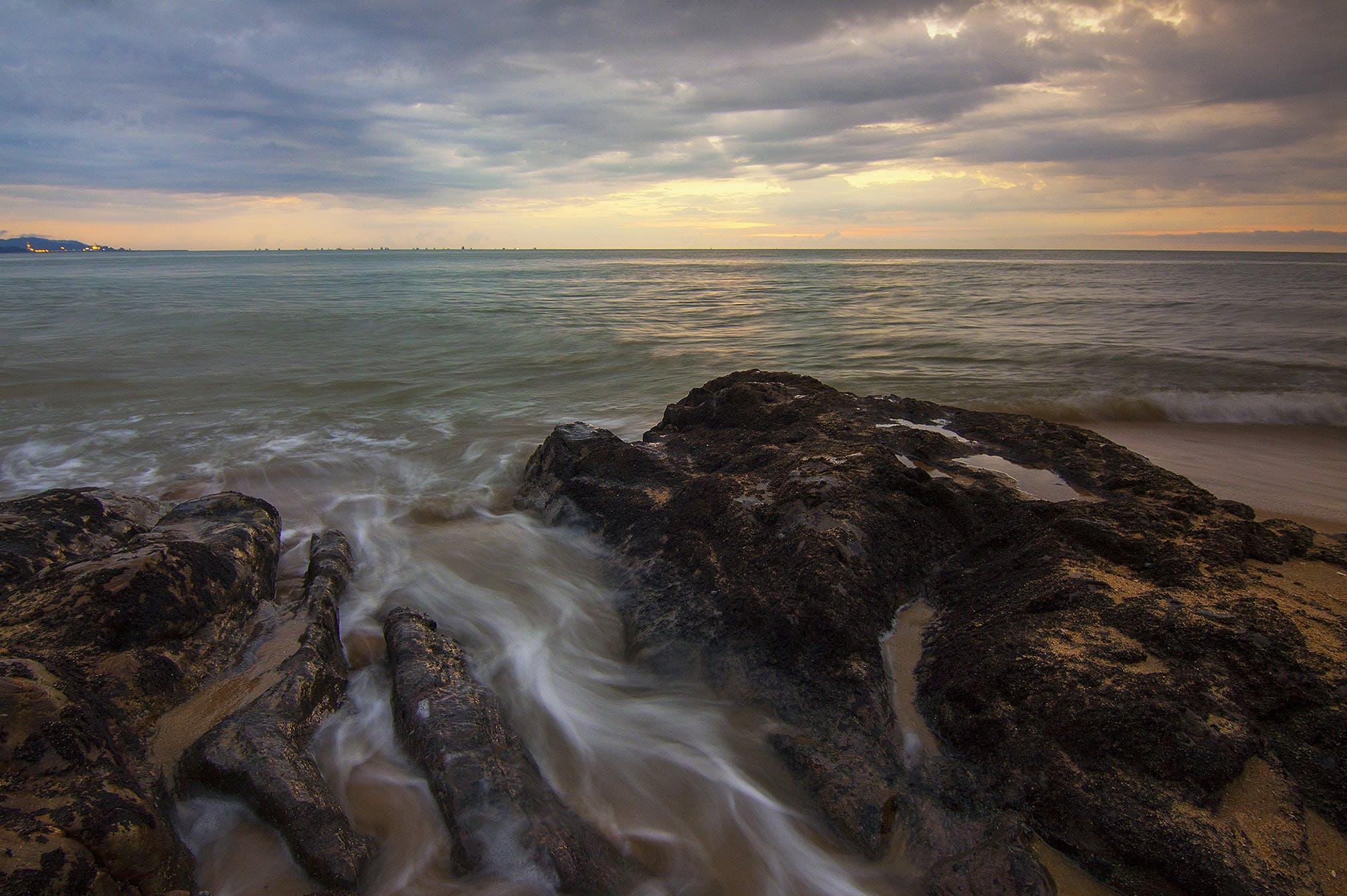 ακτή, βράχια, γαλήνιος