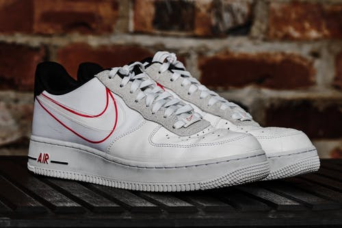 White and Red Nike Shoes