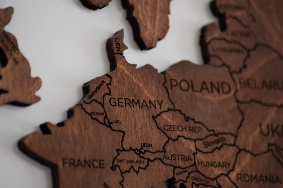 Close up photo of wooden jigsaw map