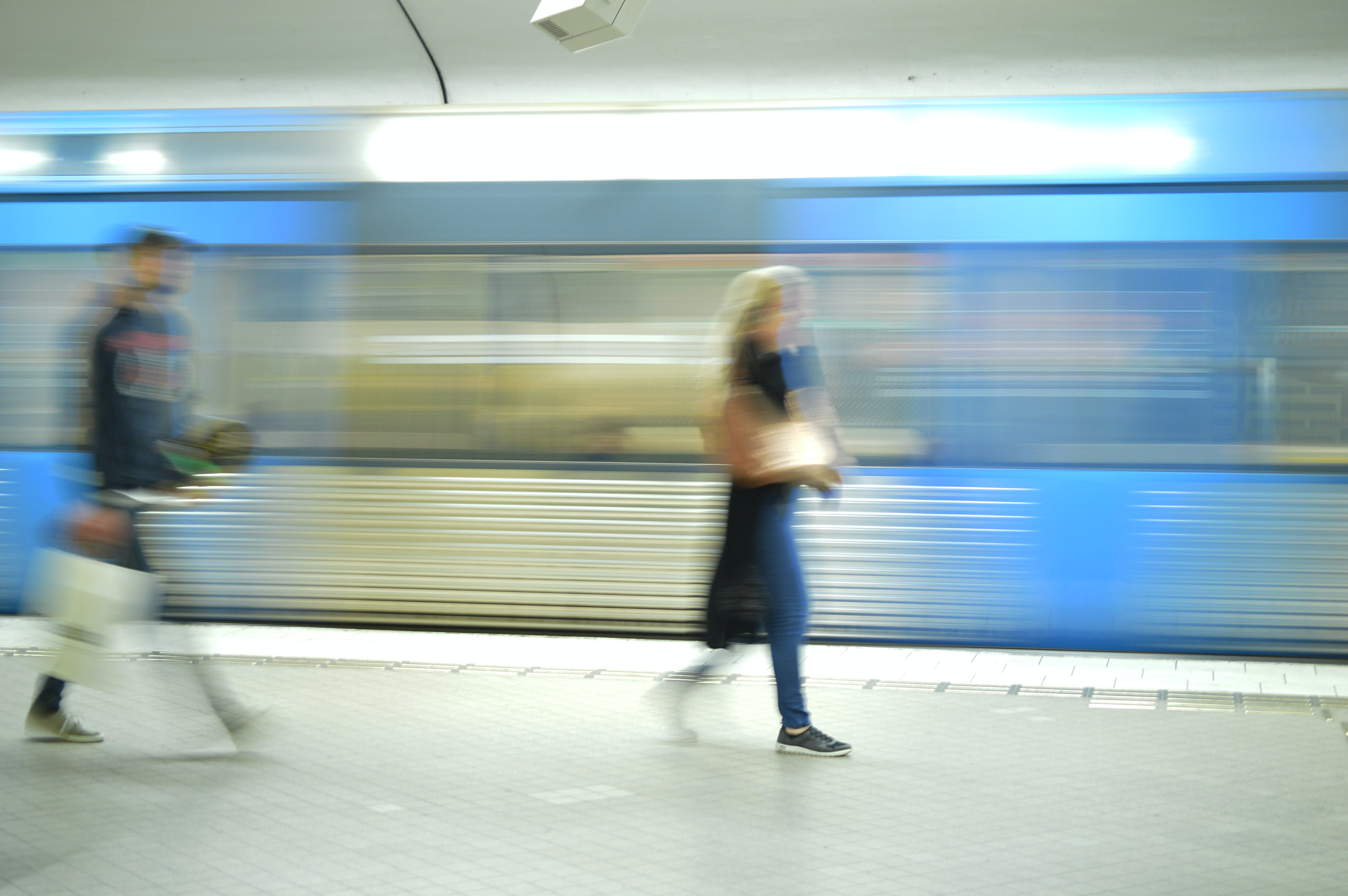 Free stock photo of blue, subway, subway platform, walking
