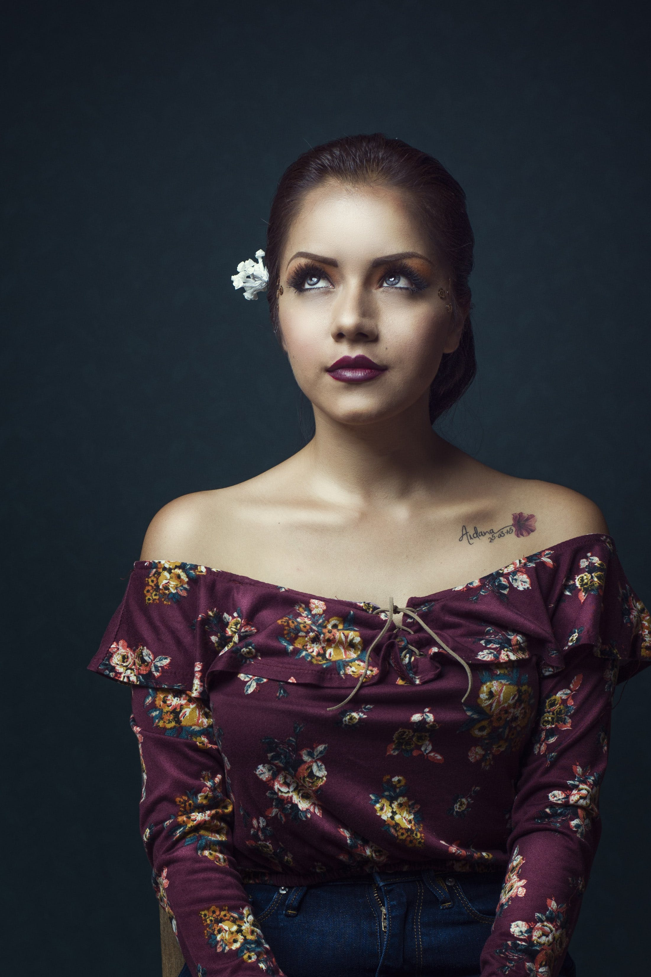 Woman Wearing Purple Floral Off-shoulder Shirt