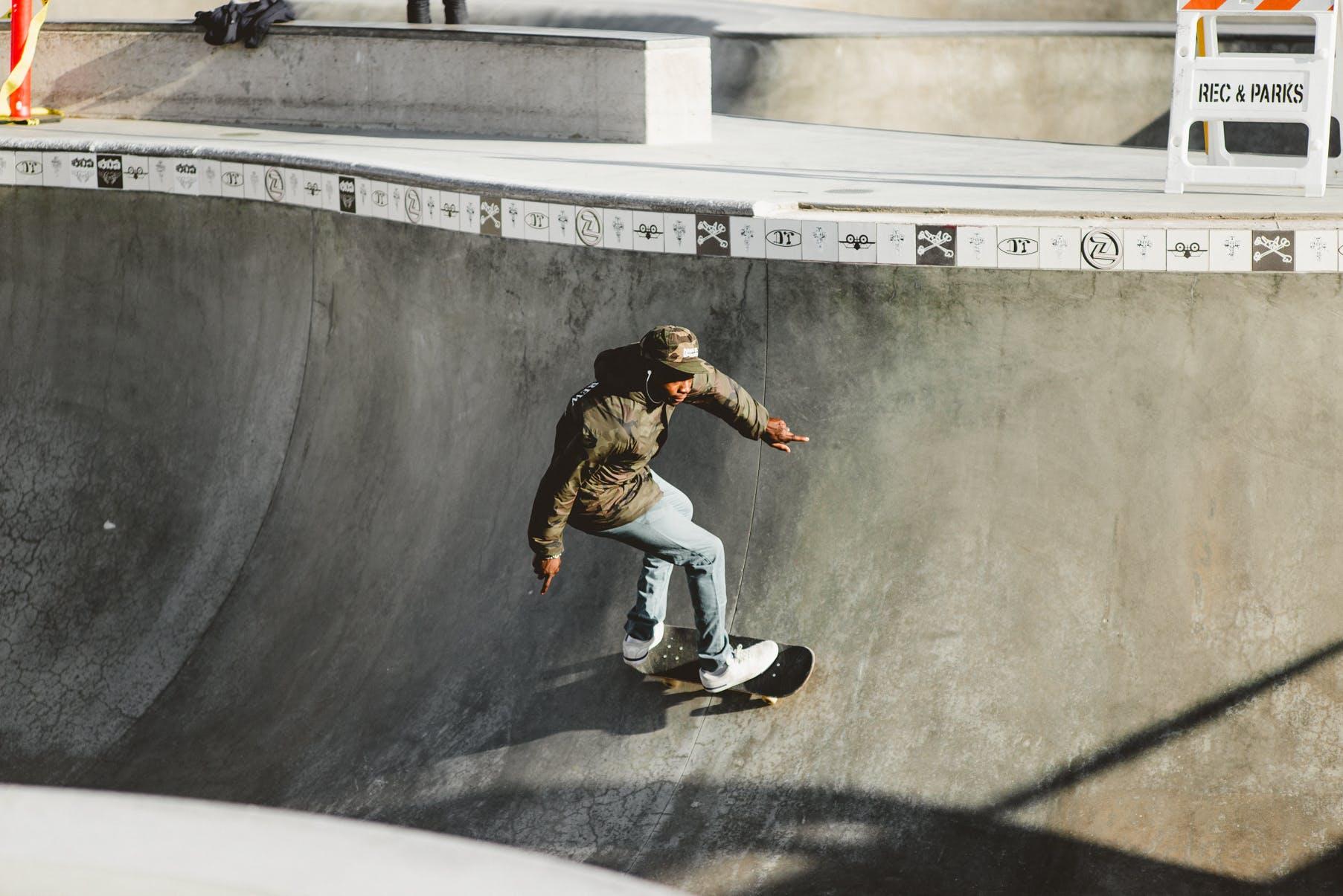 Man on Black Skateboard