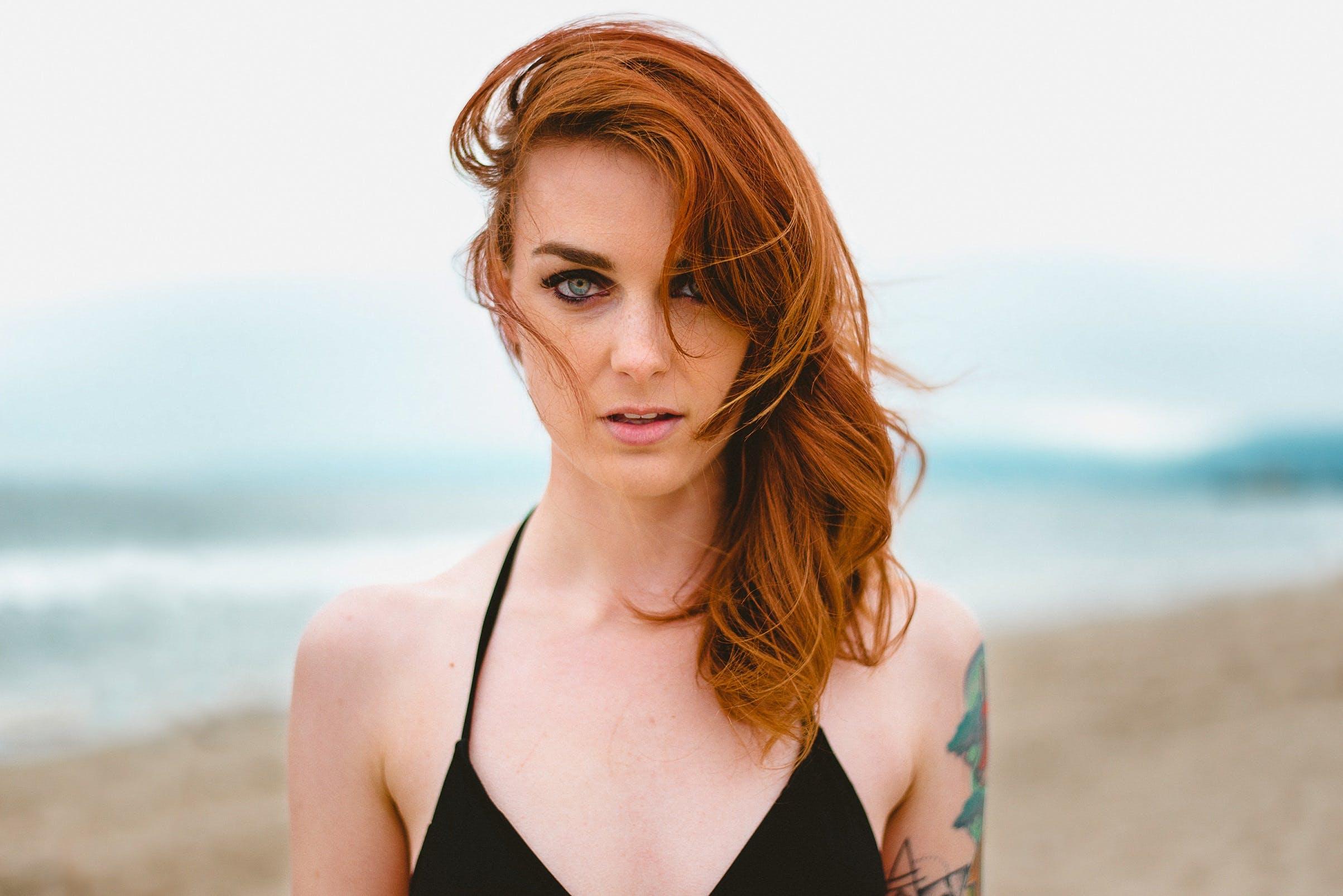 Woman Wearing Black String Bikini Top