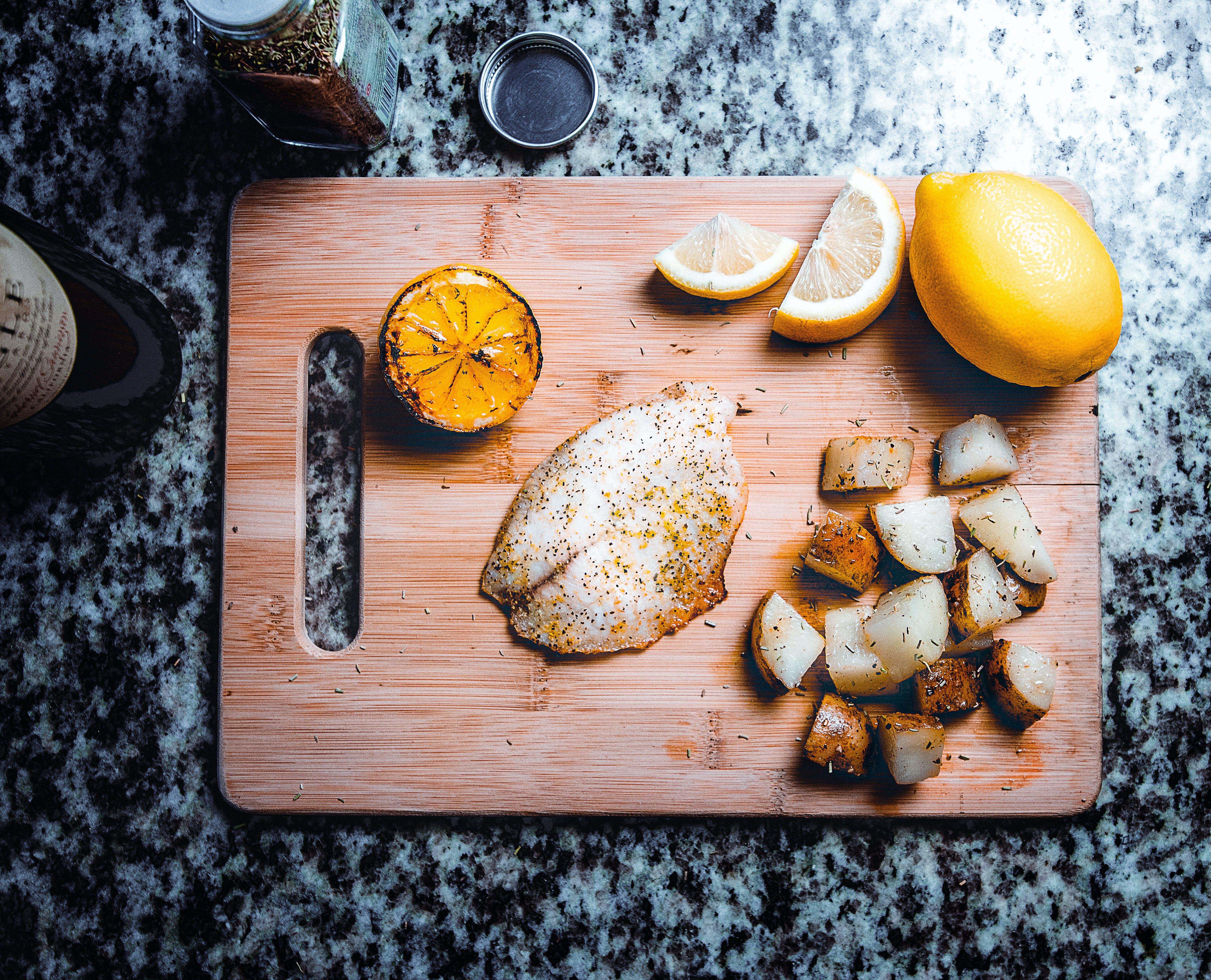 Sliced Lemon on Board