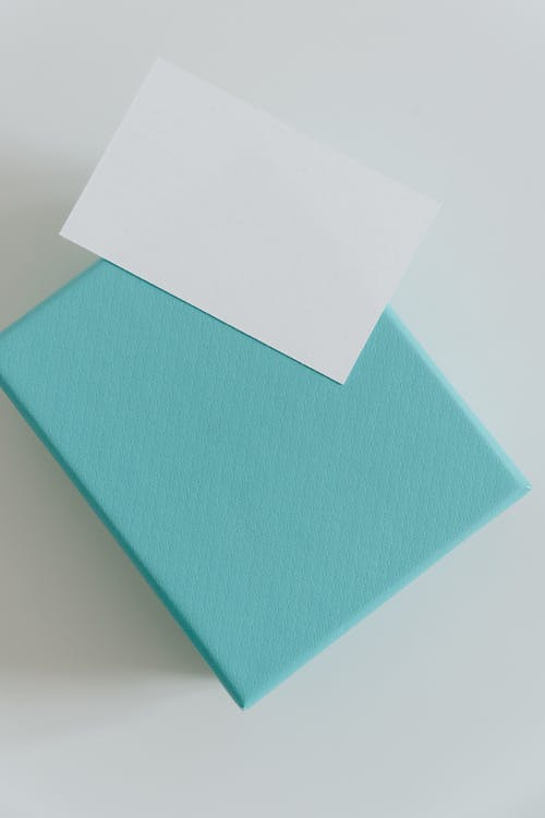 Carton present box and empty greeting card