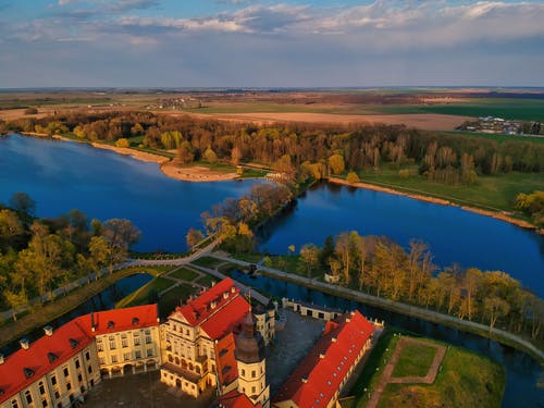 Historical castle in baroque style on riverside