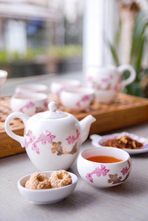 Ceramic Tea Set with Biscuits