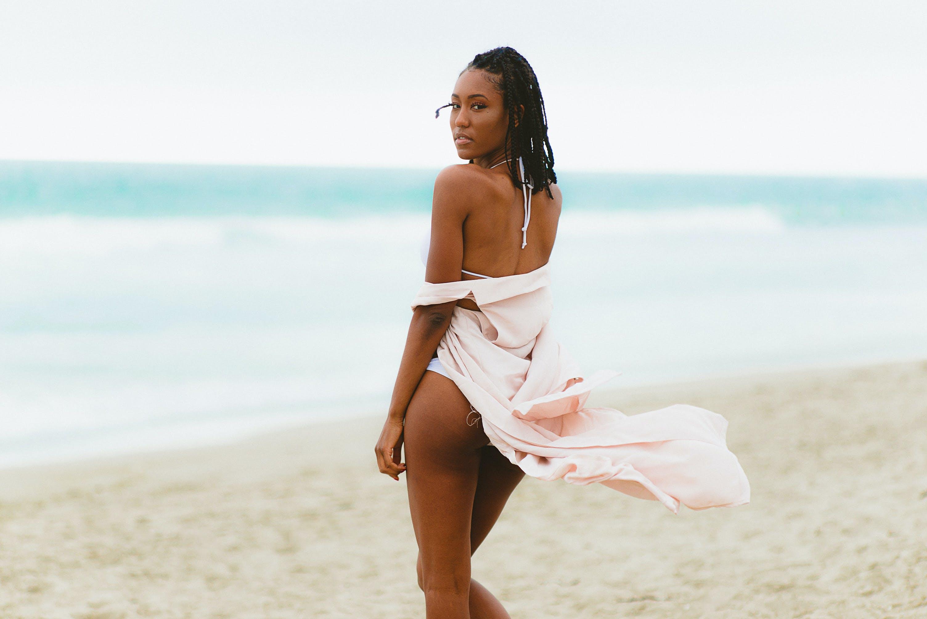 beach, bikini, black girl