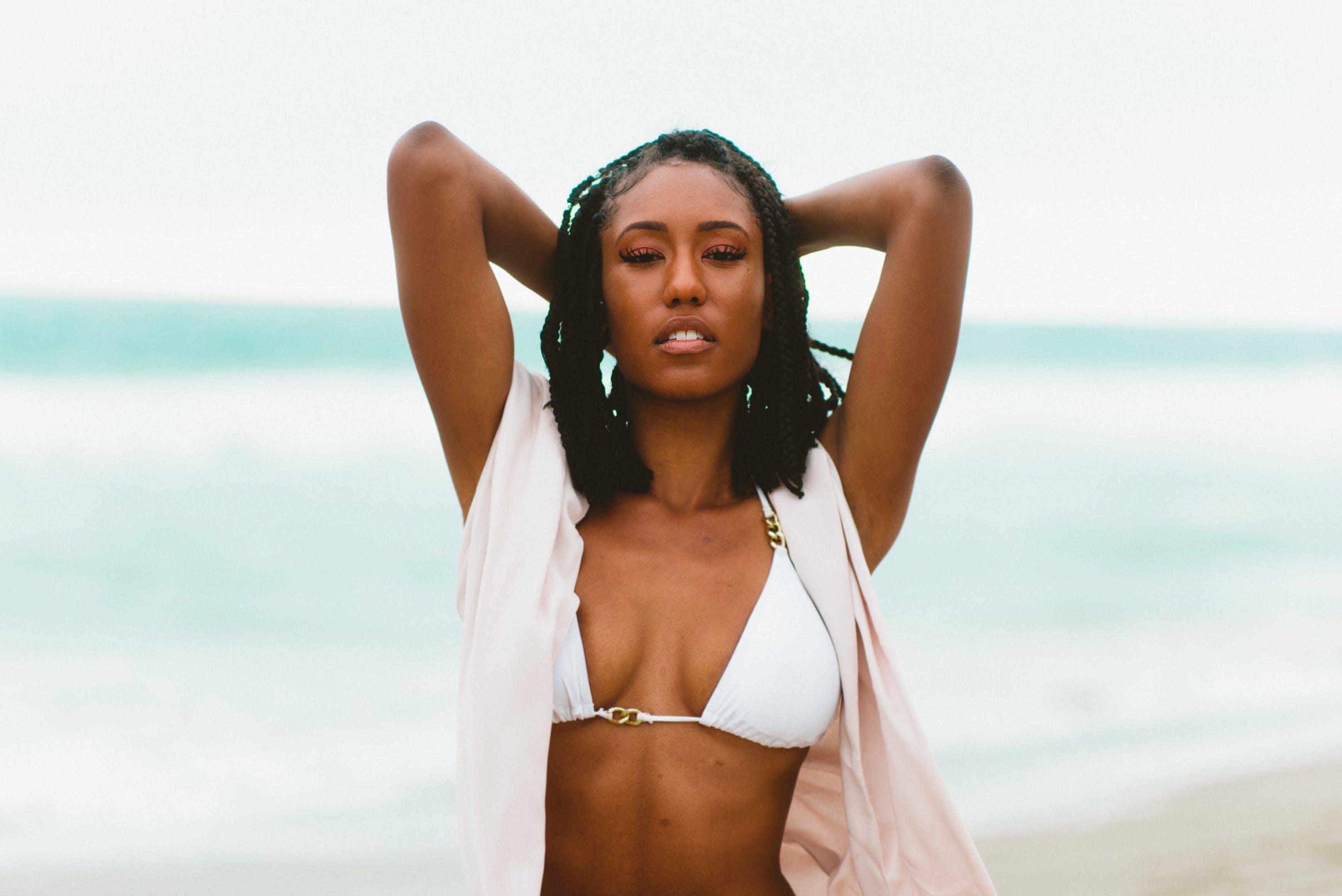 Woman Wearing Bikini on Sea Shore