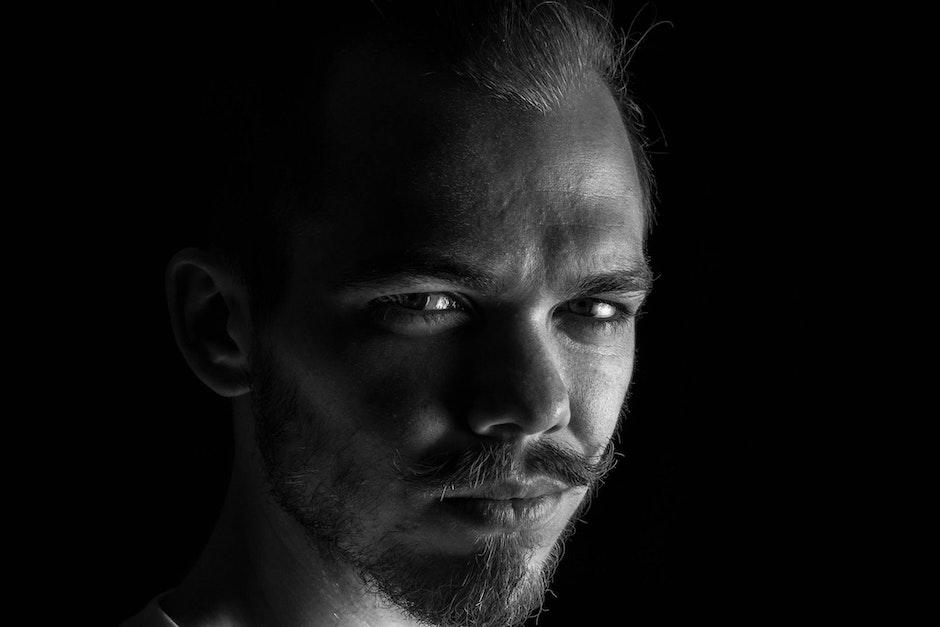 adult, beard, black-and-white
