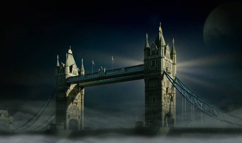 bridge, cityscape, clouds