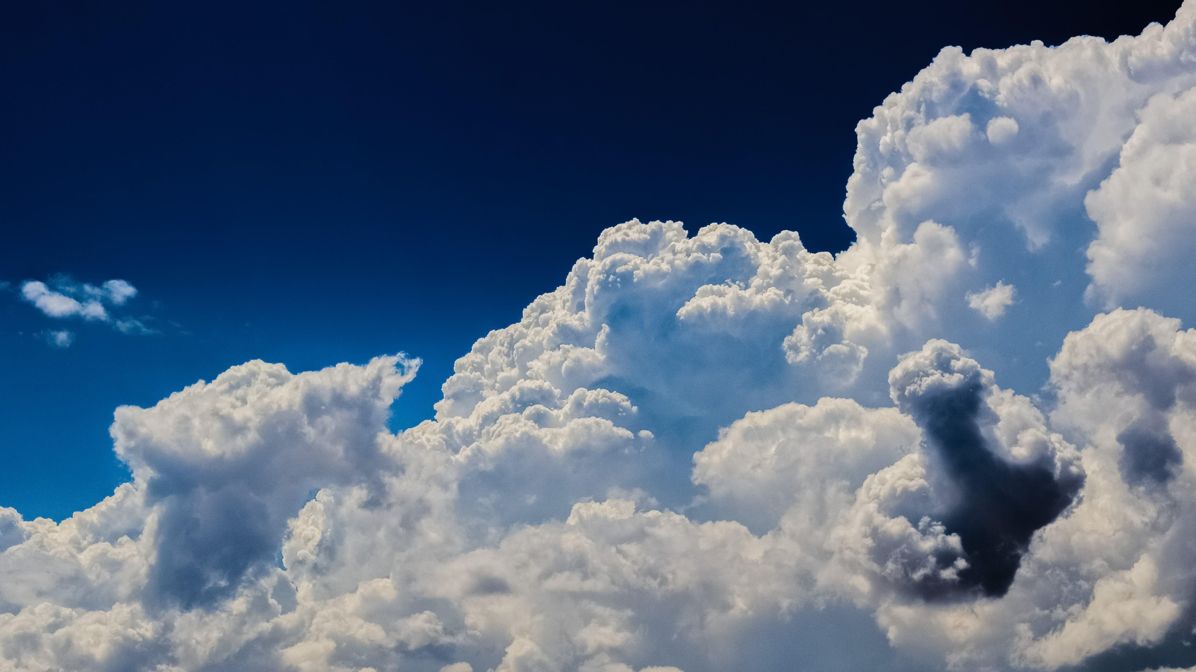 bewölkt, blau, blauer himmel