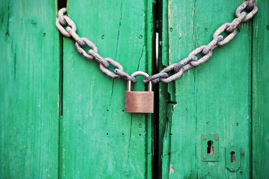Free stock photo of door, green, closed, lock