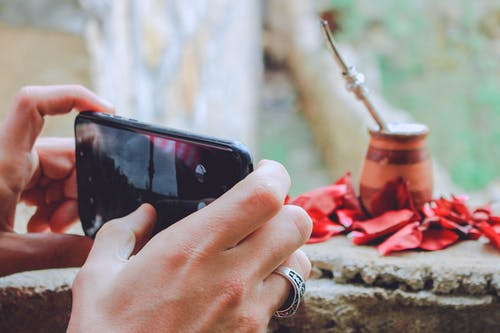 Crop faceless person taking photos on smartphone of matte calabash