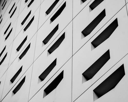 Free stock photo of abstract, architectural building, architecture, black and white city