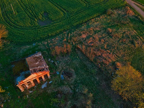 Aerial view of abandoned house with destroyed roof located on green grassy field in countryside during sunset