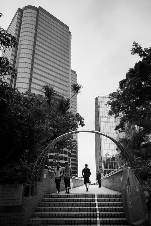 Foto profissional grátis de andando, arquitetura, arranha-céu, árvores