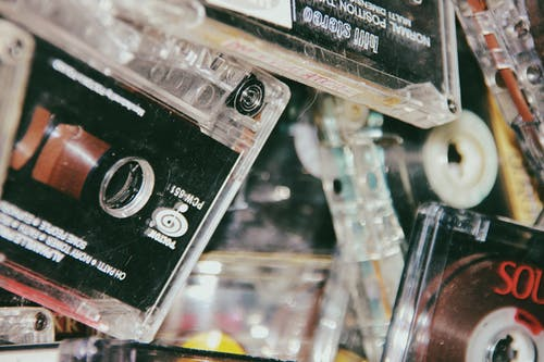 Heap of cassette tapes with old music