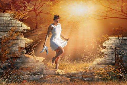 Free stock photo of Beyaz elbise, girl, güneş, mutlu