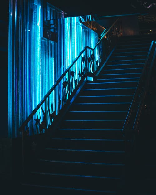 Free stock photo of neon, stair
