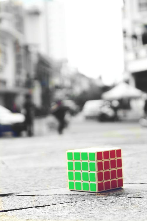 Free stock photo of black and white, color, cube, lonely
