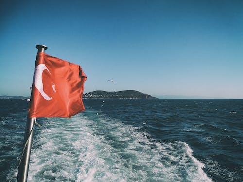 Free stock photo of boat, flag of turkey, turkey