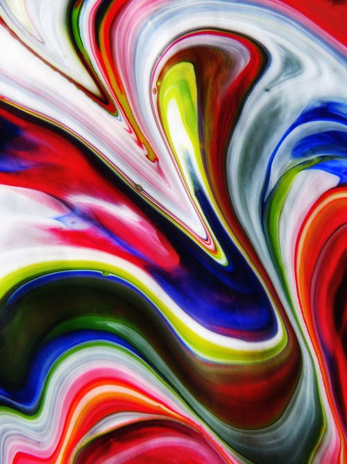Red White Blue and Green Abstract Painting