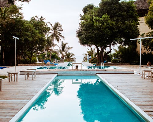 Swimming pool on hotel terrace near tropical trees