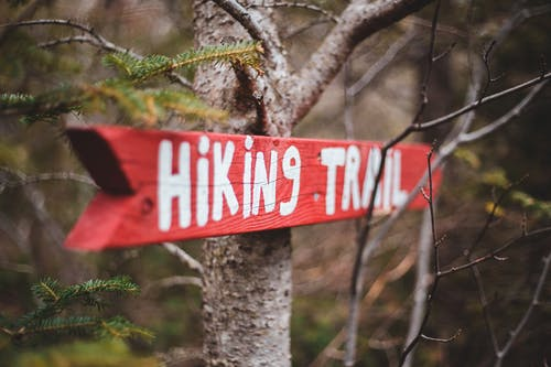 Red arrow pointer to hiking trail
