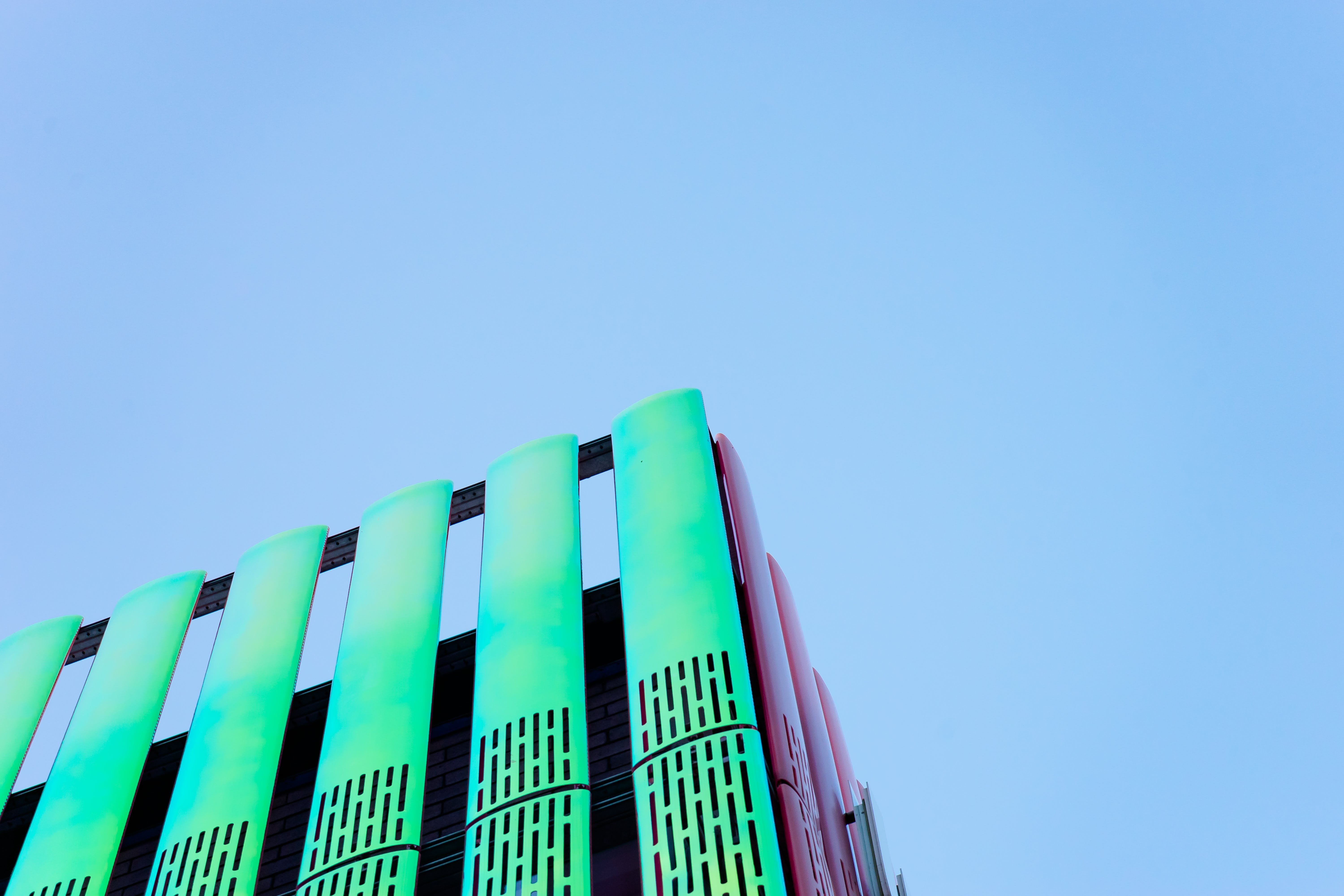 Green and Pink Concrete Structure