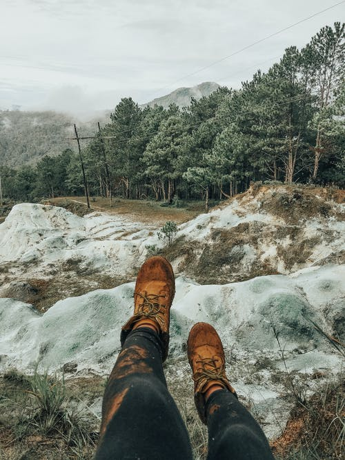 Free stock photo of adventure, feet, green mountains