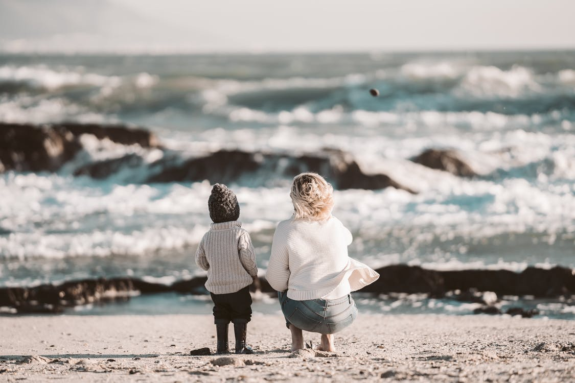 A Mother and Child at the Beach