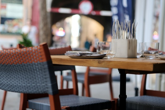 Free stock photo of city, restaurant, table, pavement