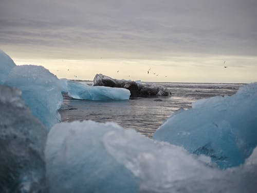 Ice chunks on frozen sea in Arctic