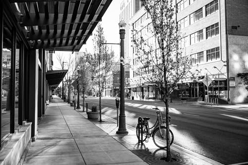 Empty city street with modern architecture
