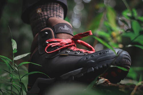 Low angle of foot of anonymous person in black boot walking in green forest