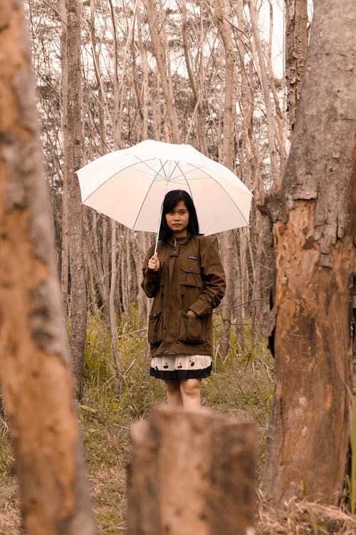 Young ethnic woman with umbrella standing in forest