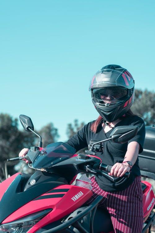 Free stock photo of girl, helmet, motorcycle, pink