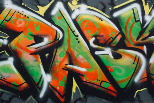 Orange Green and Black Graffiti